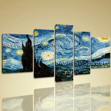 Large 5 Pcs Contemporary Home Decor Wall Art Print Canvas Van Gogh Starry Night
