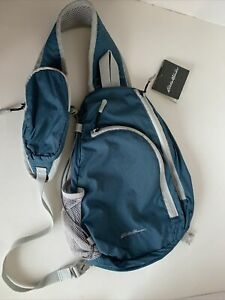 NWT New Eddie Bauer Unisex-Adult Ripstop Sling Pack, blue/green Regular ONE SIZE
