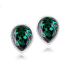 Ohrstecker Ohrring Wassertropfen Kristall smaragdgrün grün Sterling Silber 925