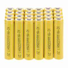 24 Pcs AAA 3A 600mAh 1.2 V NI-MH Rechargeable Battery Yellow For Flashlight