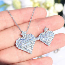 Fashion Heart 925 Silver Necklace Pendant Women White Sapphire Wedding Jewlery