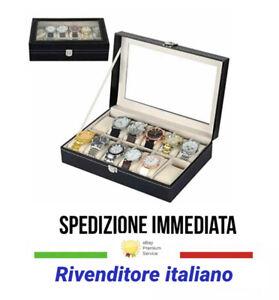 Scatola porta 12 Orologi Custodia Valigetta Bracciali Box Portagioie Espositore