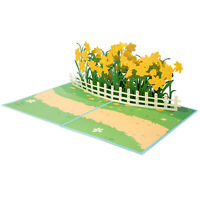 Paper Love Daffodil Garden Pop Up Card, 3D Popup Greeting Cards, for Mothers Day