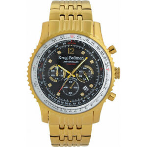 Krug-Baumen Mens Air Traveller Diamond Watch RRP £450 Brand New and Boxed