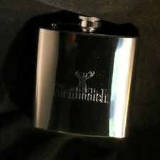 Glenfiddich WHISKEY HIP FLASK 6oz polished silver NEW in gift box FREE ENGRAVING