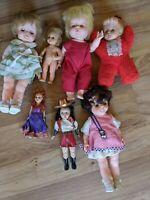 Lot Of 7 Vintage Plastic Dolls