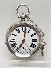 Antique solid silver gents pocket watch c1900 working ref1170