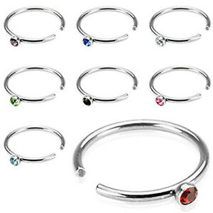 20 GA NOSE HOOP EAR TRAGUS CARTILAGE FAKE NON PIERCING WITH 2MM GEM BALL 5/16""