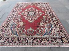Vintage Worn Hand Made Traditional Oriental Wool Red Large Rug Carpet 301x212cm
