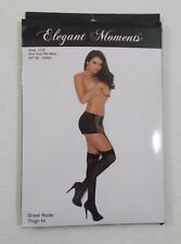 New Elegant Moments Nude & White Thigh High Tights Panty Hose Nylons