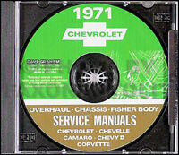 1971 Chevy CD Shop Manual Camaro Corvette Chevelle El Camino Monte Carlo Nova