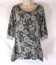 Denim & Co. Women Blouse Shirt Green Floral Sz 2XS 3/4 Sleeve Asymmetrical CBK22