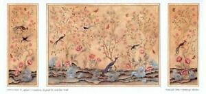 Melody Jane Dolls House Chinoiserie Miniature Print 1:24 Scale Wallpaper Panels