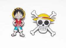 2 One Piece Pirates Luffy & Jolly Roger Metal Pin Badge Set ~Brand New~
