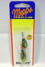 Mepps 1/8 oz Black Fury Chartreuse Tail Dot Spinner Fishing Lure