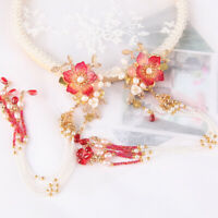 2pcs Retro Flower Bead Tassel Hairpin Accessory for Kimono Hanfu Party Cosplay
