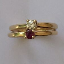 Vintage 14K Yellow Gold Diamond .12 CT, 3 mm Ruby Solitaire Ring Size 4.5 Pinky