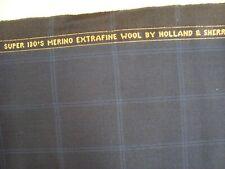 "1.77 yds Holland Sherry Wool Fabric ExtraFine Super 130s 8.5 oz Midnight 64"" BTP"