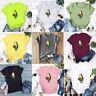 Women Fashion Cotton Casual Avocado Print Short Sleeve T-shirt Top Clothes K0X4