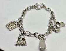 "WOMENS CHARM BRACELET PURSE HEART BORN TO SHOW LINK 8"" SANDAL HEELS HANDBAG"