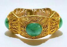 Antique Chinese Silver Gold Vermeil & Jade Filigree Bracelet.