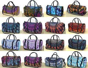 New Indian Handmade Mandala Large Duffel Sports Gym Bag Cotton Unisex Travel Bag