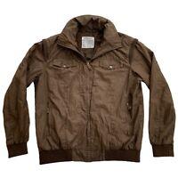 Catamaran Sailwear Brown Full Zip CT20CSTMR Hooded Mens Coat Jacket • Large L