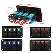 12/24V Rocker Switch Control Panel Breaker 4 Gang LED Light Car Marine Boat IP65