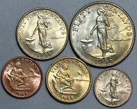 1958 Philippines 1c 5c 10c 25c 50c Five Coin Type Set Choice BU (20062103R)