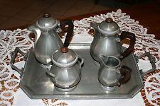 service à café ou thé en étain et palissandre - art déco -