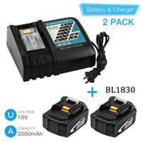 2xReplace for Makita 18V LXT Battery 3000mAh BL1830 and DC18RC Battery Charger