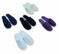 COTTON Terry Towelling SPA Hotel Slippers CLOSE & OPEN TOE Guest Home 6 COLOURS
