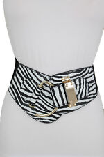 Women Wide Zebra Black White Animal Print Belt Gold Hook Buckle Hip Waist S M