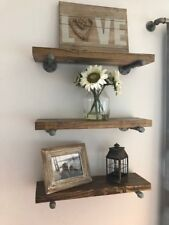 """8"""" Deep Industrial Floating Shelf with Antique Nickel Pipes, Rustic Shelf"""