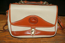 Dooney & Bourke All Weather Leather Purse Handbag Beige & Orange Brown Satchel