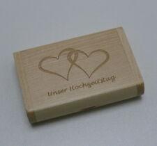 USB Stick 8 GB Holz Unser Hochzeitstag Echtholz Holzkiste Geschenk Bilder Gravur