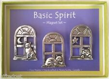Handcrafted Pewter Window Cats Boxed Magnet Set by Basic Spirit