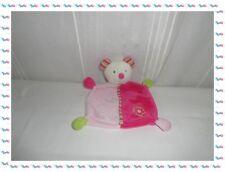 C - Doudou Semi Plat Souris Blanche Rose Fuchsia Vert Fleur  Baby Club