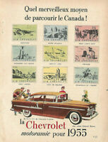 1955 CHEVROLET BEL-AIR SEDAN 4-DOOR BROWN AUTOMOBILE ORIGINAL AD IN FRENCH