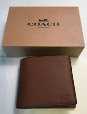 New Men's Coach F74991 Compact ID Sport Calf Leather Wallet: Brown