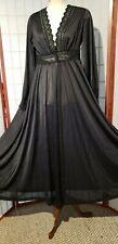 VTG Black OLGA Peignoir Robe  Negligee Gown medium