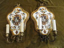 Rare paire d'applique faience gien 1871 renaissance italienne bronze st LXVI