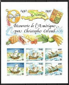 SMT, Monaco,1992, Europa-Cept, souvenir sheet IMPERFORATE, CV € 350, MNH