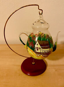 One of a Kind Hand Painted Hanging Teapot Shaped Glass Terrarium Farm Life