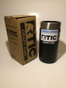 RTIC Craft Can Koozie 16 oz. Charcoal Black - Stainless Steel Double Wall Vacuum