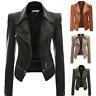 Womens Long FAUX LEATHER JACKET Zipper Biker Jacket Ladies Blazer Coat Size 6-20
