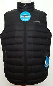 $130 Columbia Mens Quilted lightweight Water resistant Black Vest M new