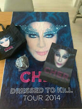 (2)Cher Dressed to Kill Tour Vip 2014 Package Towel,Hologram Poster,Mug,Tote Bag