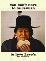 ADVERT FOOD LEVY RYE BREAD NATIVE AMERICAN JEWISH FINE ART PRINT POSTER ABB6039B