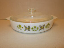 Vintage Anchor Hocking Fire King Green Meadow Design Lidded Oven Dish - Lovely